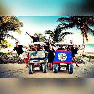Belize real estate agent on golf cart - interview with Belize real estate attorney